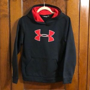 Youth black and red Under Armor hoodie